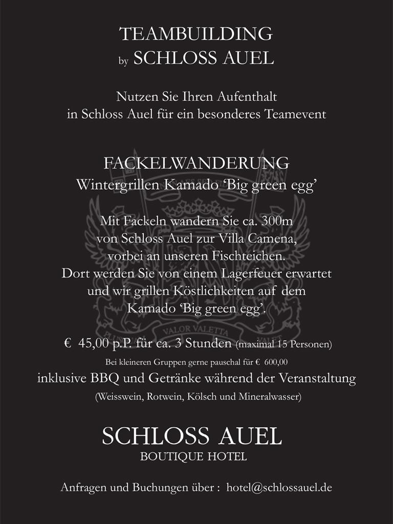 Schloss Auel Boutique Hotel - Team Event Fackelwanderung