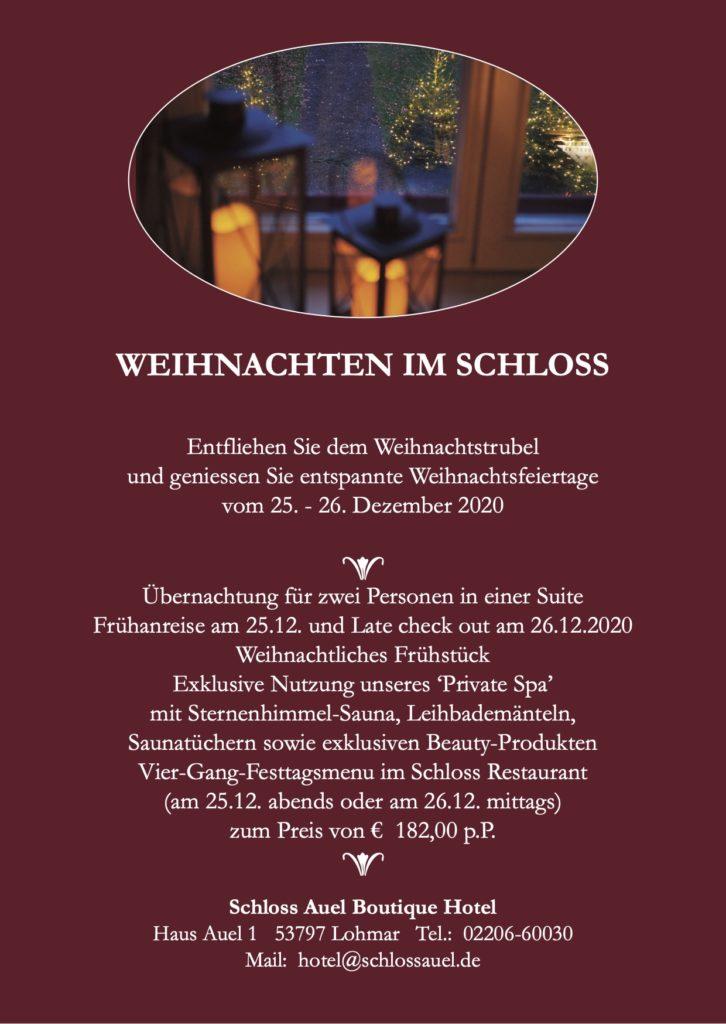 Schloss Auel Boutique Hotel - Weihnachten im Schloss