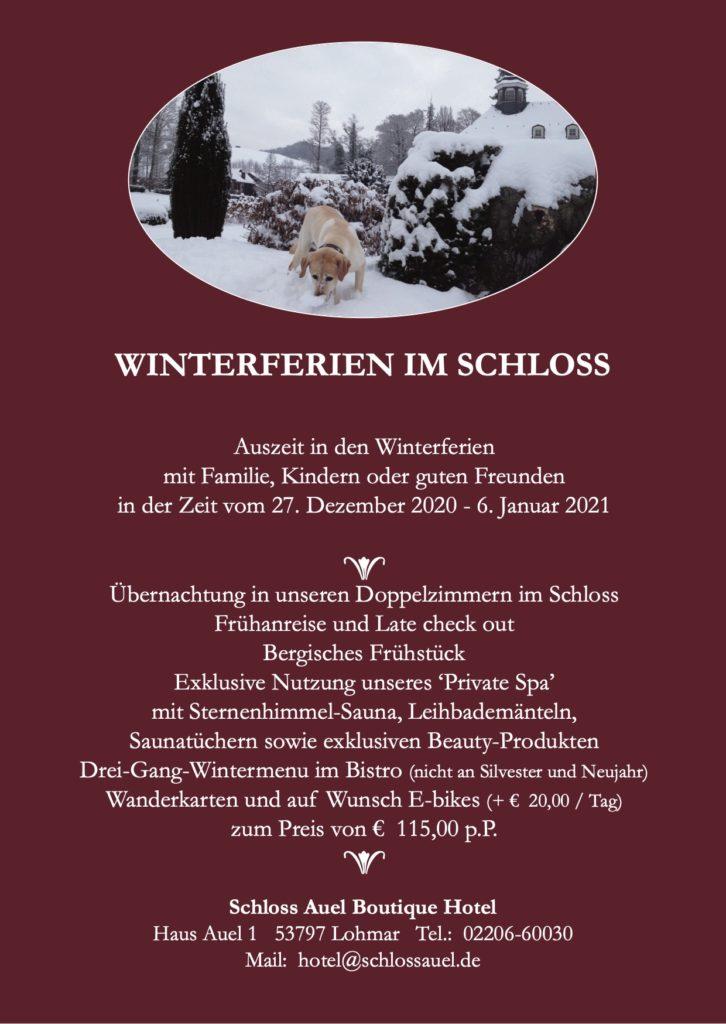 Schloss Auel Boutique Hotel - Winterferien im Schloss